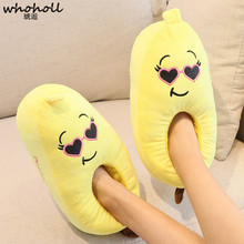 WHOHOLL Cute Banana Slippers Women Indoor Plush Home Shoes Casual Flat Ladies Fluffy