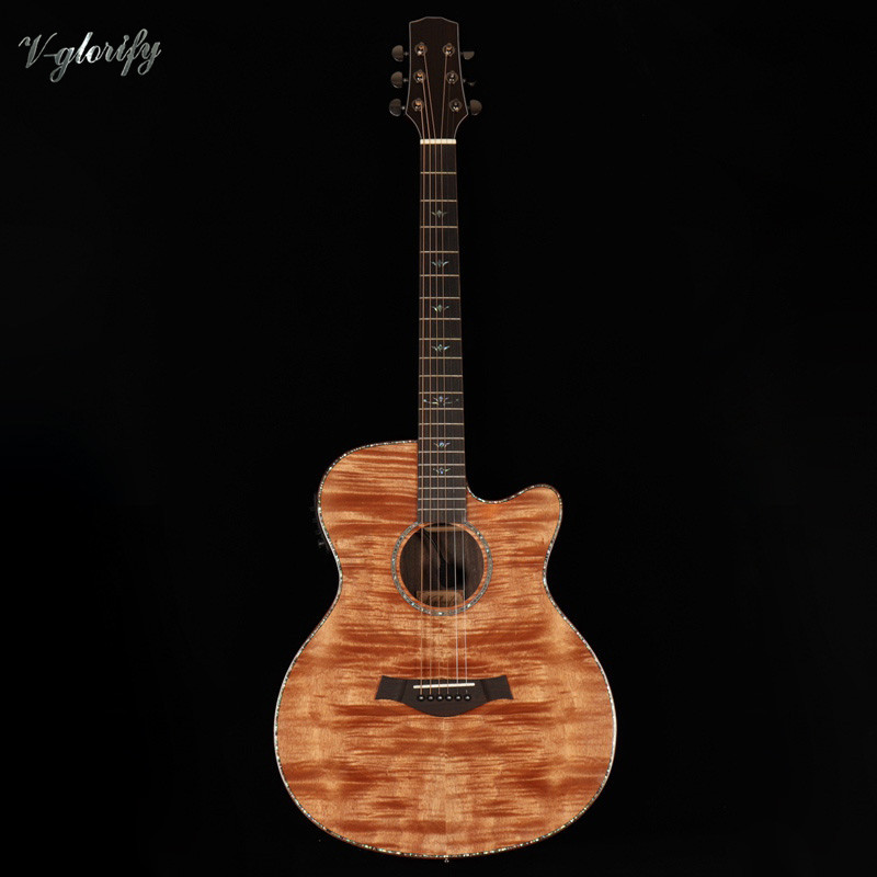 2019 factory new arrival high grade 40inch flame maple top acoustic guitar with LED pickup2019 factory new arrival high grade 40inch flame maple top acoustic guitar with LED pickup