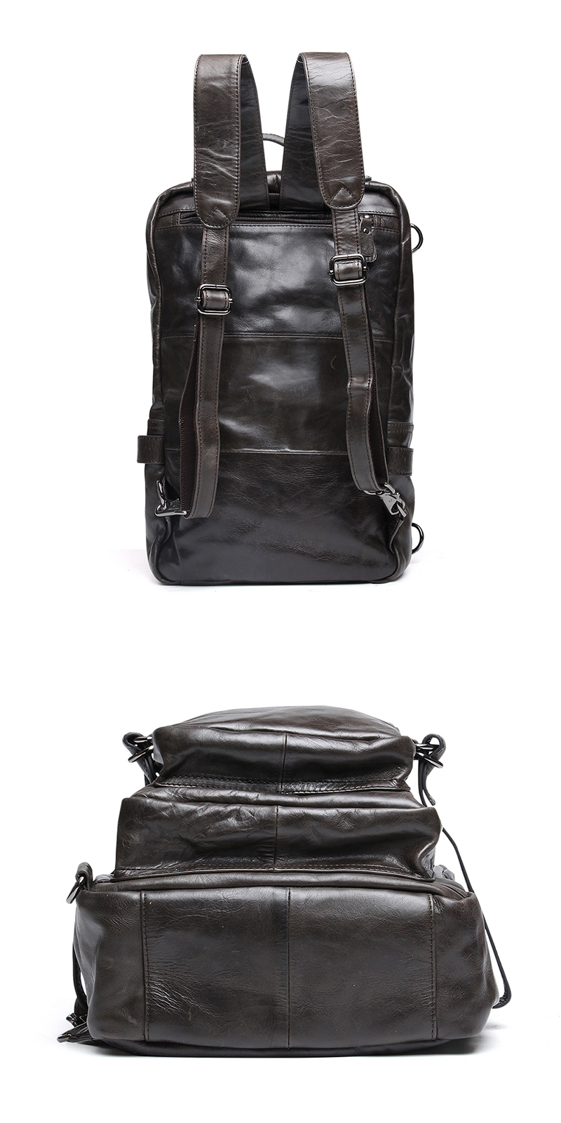 522cbd31cf NBSAMENG High Class Oil Waxed Genuine Leather Men Backpack Cowhide Leather  Travel Backpack School Backpack Mountaineering Bag-in Backpacks from  Luggage ...