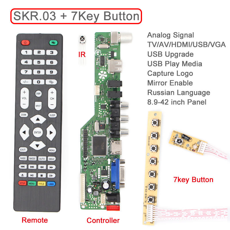 SKR.03 8501 Universal LCD LED TV Controller Driver Board TV/PC/VGA/HDMI/USB+IR+7 Key button Switch Replace v59 v56