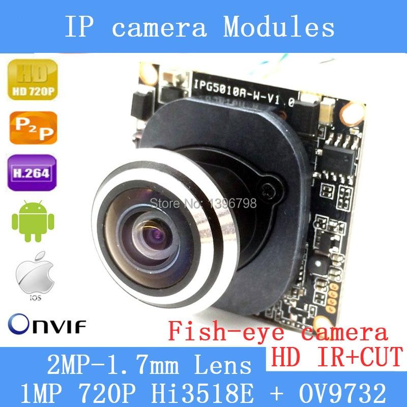 Hi3518E + OV9732720P IP camera Module 1.0MP 360 Degree Wide Angle Fisheye Panoramic Camera Infrared Surveillance Camera pu aimetis ip camera module 1 0mp 720p 360 degree wide angle fisheye panoramic camera infrared surveillance camera security