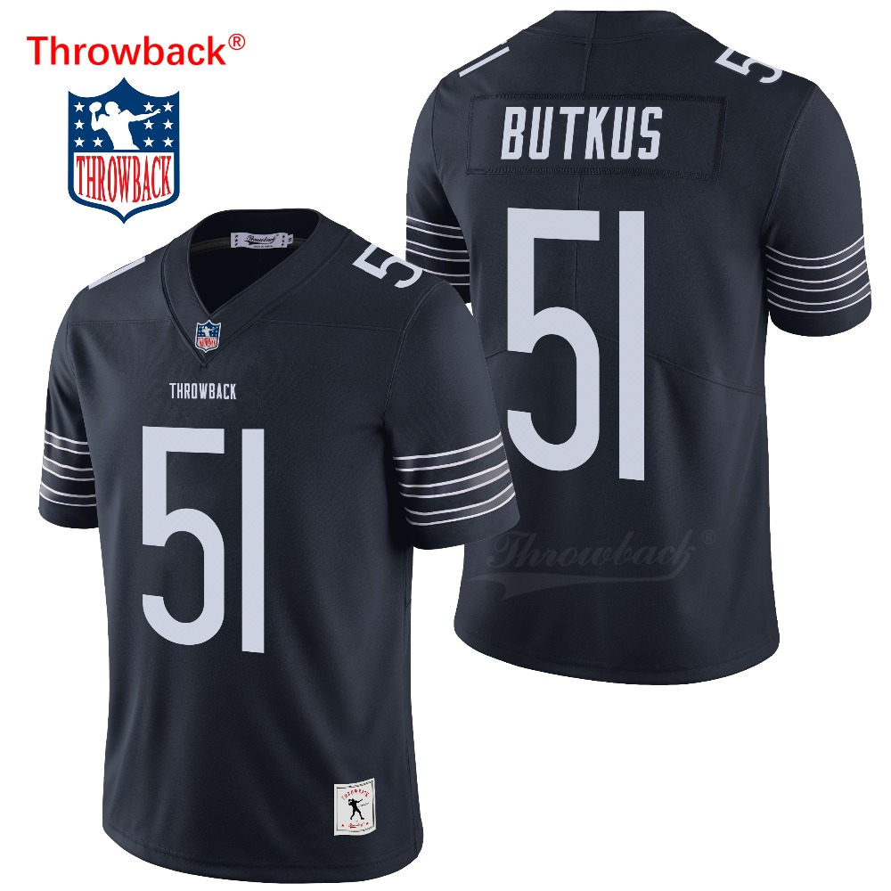 Throwback Jersey Men's Chicago American Football Jerseys Butkus Jersey Size S-XXXL Colour Navy Blue Free Shipping Cheap image
