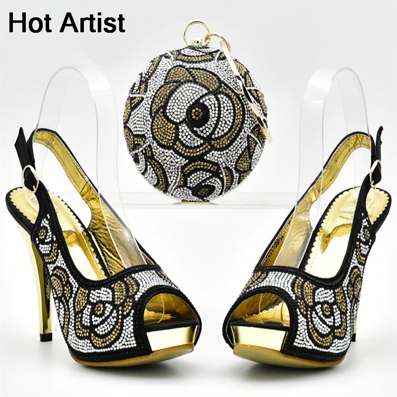 Hot Artist Italian Shoes With Matching Bags Decorated With Rhinestone African Wedding Shoes And Purse Set Free Shipping YF-07 yh01 hot sale african matching shoes and bag with stone fashion dress shoes and bags free shipping