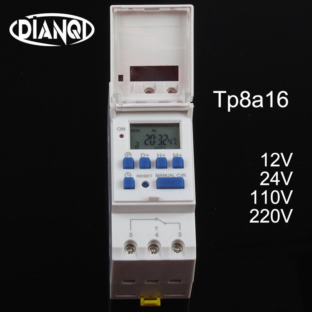 Timer <font><b>switch</b></font> din rail digital TP8A16 weekly programmable electronic microcomputer time <font><b>switch</b></font> <font><b>220V</b></font> 230V <font><b>6A</b></font>-30A 12V AC bell ring image