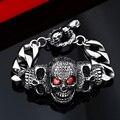 Beier pulseira do crânio do punk pulseira de aço inoxidável 316l para o homem dominador largura 31mm moda jóias bc8-021