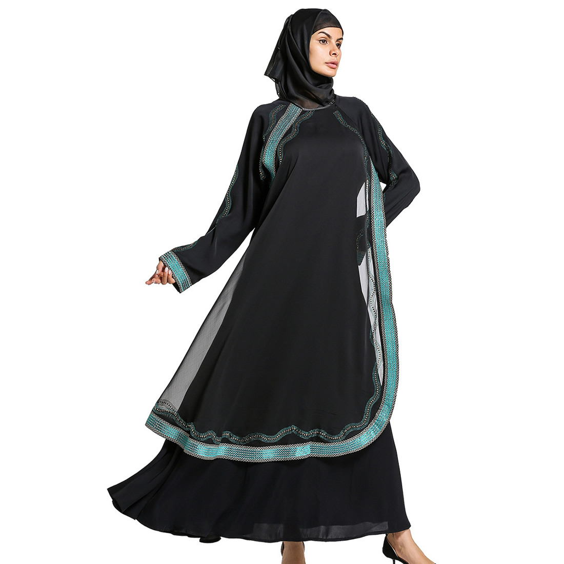 2017 Chiffon Muslim Fashion islamic abaya dresses for women Dress female saudi indonesia pakistan abaya for women robe clothing