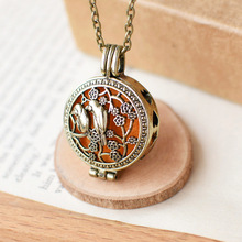 Vintage Bronze Color Metal Chain Pendant Hollow Flower Bird Essential Oil Aromatherapy loket Necklace For Women Girls Ladys Gift
