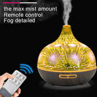 3D Glass Air Humidifier Ultrasonic Aroma Essential Oil Diffuser 7 Color Changing LED Light Remote Control Aromatherapy Machine