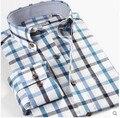 Азия размер XS-5XL 6XL мужская одежда топы 100% хлопок клетчатые рубашки с длинным рукавом camisas свободного покроя рубашка мужчины уменьшают подходящую рубашку
