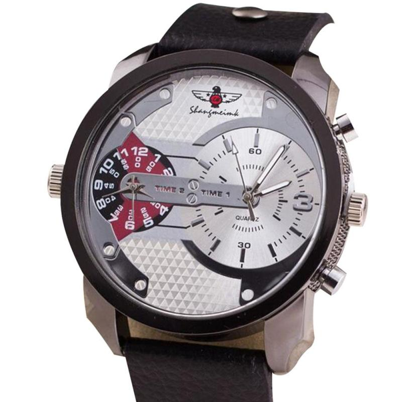 Large Dial Male Watch Men Luxury Wristwatch With Double Eyes Movement Quartz Watch Leather Watchband Reloj Hombre Gifts Relogio jubaoli rotatable bezel male watch quartz leather strap wristwatch