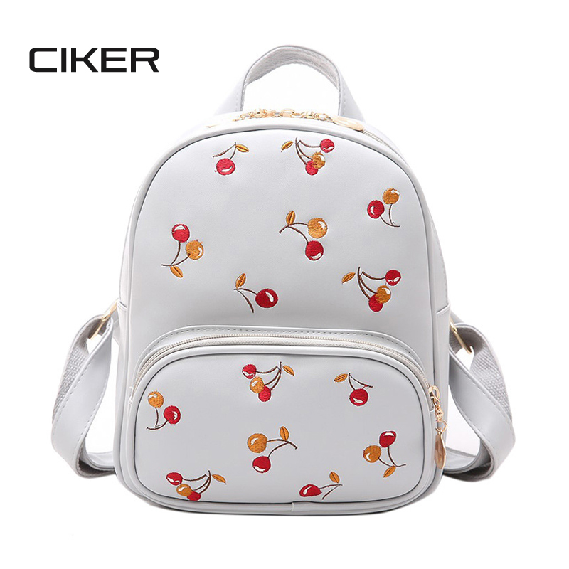 CIKER Cherry Women Backpack High Quality PU Leather Backpack Mochila Escolar School Bags For Teenagers Girls