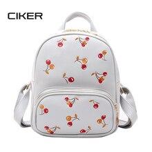Ciker вишневый женщины рюкзак высокое качество pu кожаный рюкзак mochila эсколар школьные сумки для подростков девочек топ-ручка рюкзак