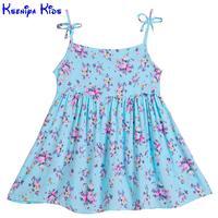 Kseniya Kids Baby Girls Dresses Floral Print Bow Knot Designer Children Girl Summer Beach Casual Dress