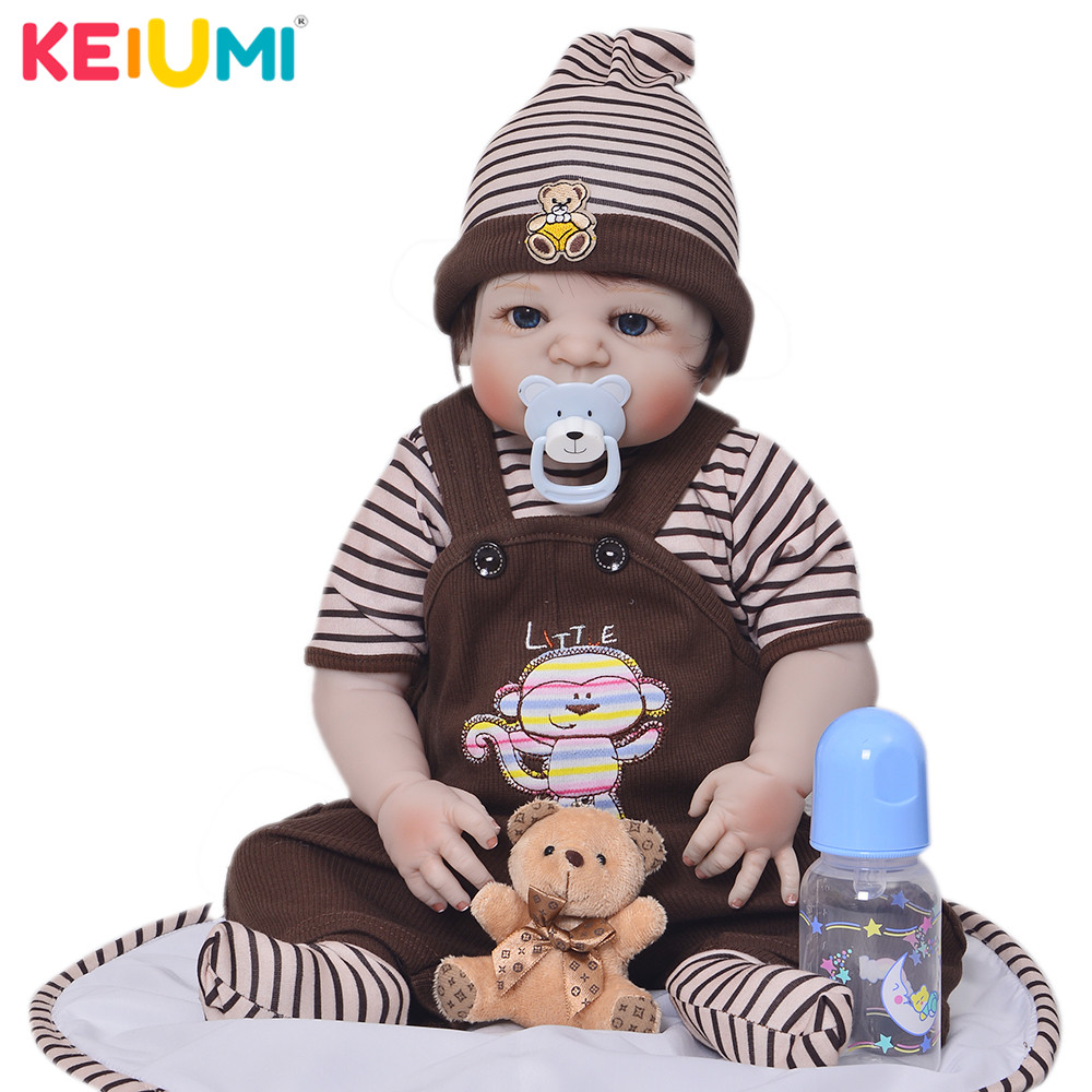 Fashion 23 Realistic Silicone Boneca Reborns Full Vinyl Body Reborn Baby Dolls  Hot Sale Baby Boy Toys Newborn Dolls For GiftsFashion 23 Realistic Silicone Boneca Reborns Full Vinyl Body Reborn Baby Dolls  Hot Sale Baby Boy Toys Newborn Dolls For Gifts
