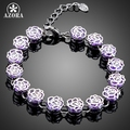 AZORA Fancy Elegant Bracelet with 13pcs Purple Cubic Zirconia Wedding Bracelet for Women TS0115