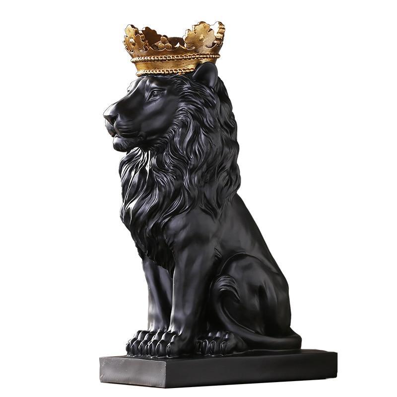 Crown Lion Statue Resin- ի տան զարդարման - Տնային դեկոր