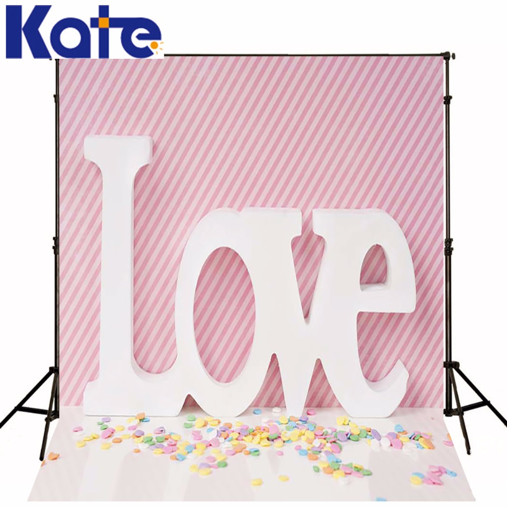 Cute Candy Love Valentine'S Day Backdrop Pink And White Squares Wall  Backdrops For Photography Wedding