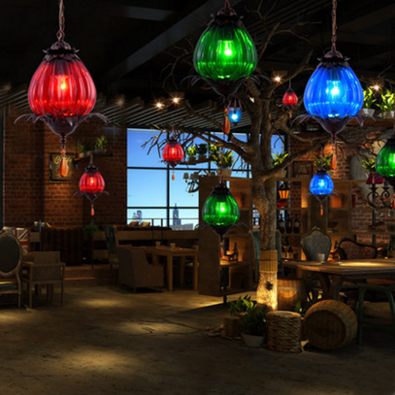 Creative design Modern LED colorful glass pendant lights lamps for dining room living room bar colorful glass pendant lamp fumat stained glass pendant lamps european style glass lamp for living room dining room baroque glass art pendant lights led