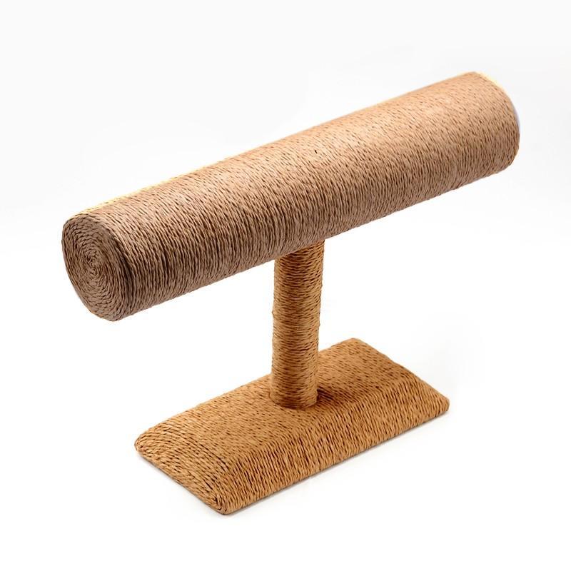 T Bar Straw Rope Bracelet Bangle Display Stands BurlyWood 24x18x7 4cm
