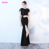 Junoesque Black Lace Long Mermaid Evening Dresses 2017 Sexy Formal Evening Gown O Neck Elastic Satin