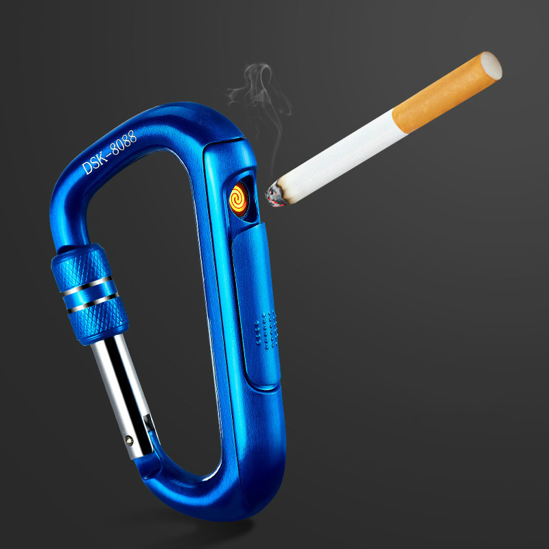 Electric USB Lighter Metal Portable Carabiner Flameless Rechargeable Windproof Electronic Lighter Cigarette Plasma Lighter