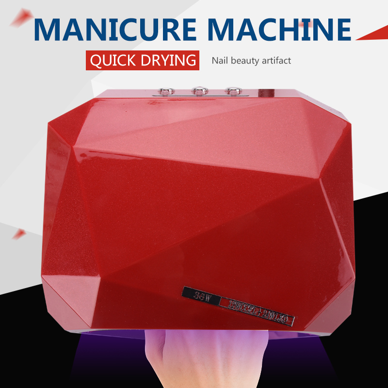 Free Shipping 36W UV Lamp LED Nail Dryer Light CCFL Diamond Shaped Best Curing Machine for UV Gel Nail Polish Nail Art Tools auto sensor uv lamp 36w led lamp nail dryer gel nail lamp curing for light nail dryer polish nail tools diamond shaped