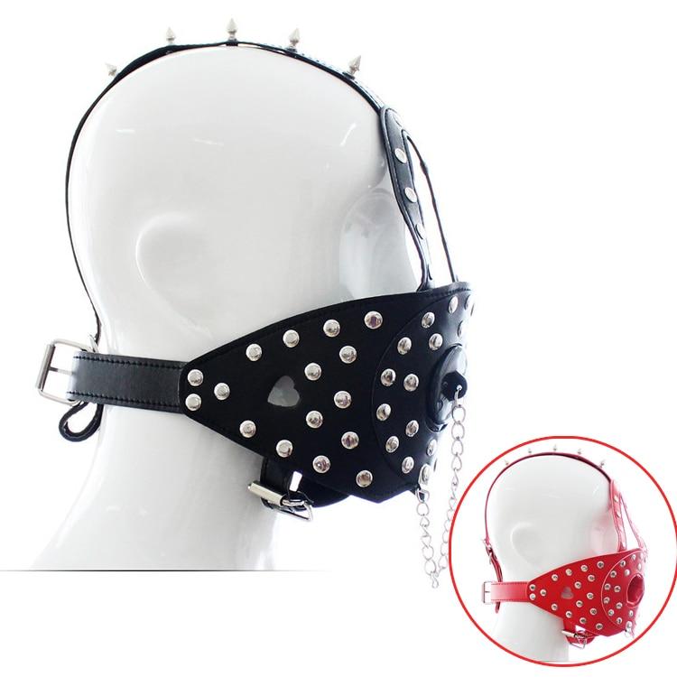 Buy Black/Red leather head harness O-ring gag cover bdsm fetish cosplay slave bondage restraints mouth gag mask hood sex toys