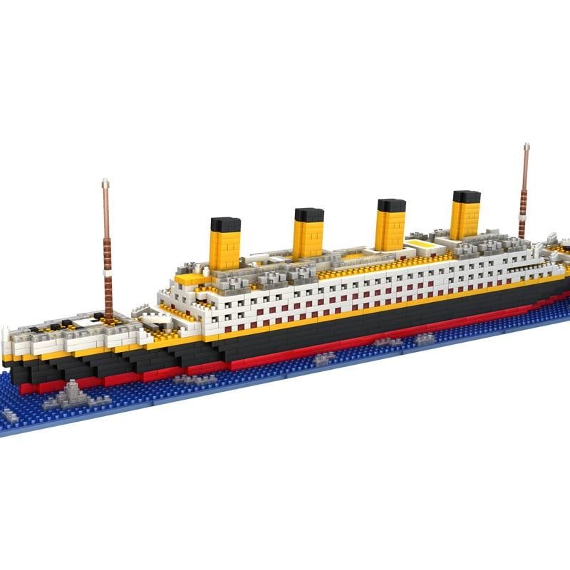1860pcs Titanic Ship 3D Mini Diy Building Blocks Toy Boat Model Educational Collection Birthday Gift