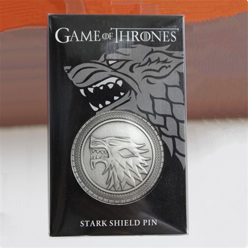 2019 Game Of Thrones Badge Brooch Song Of Ice And Fire Eddard Stark Pin Direwolf Brooch Unisex Cosplay Collection Gift