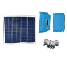 купить Kit Solar Module 50W 12V Polycrystalline Solar Charging Controller 12V/24V 10A  Cable Z Bracket Fan Laptop Mobile LED Light недорого