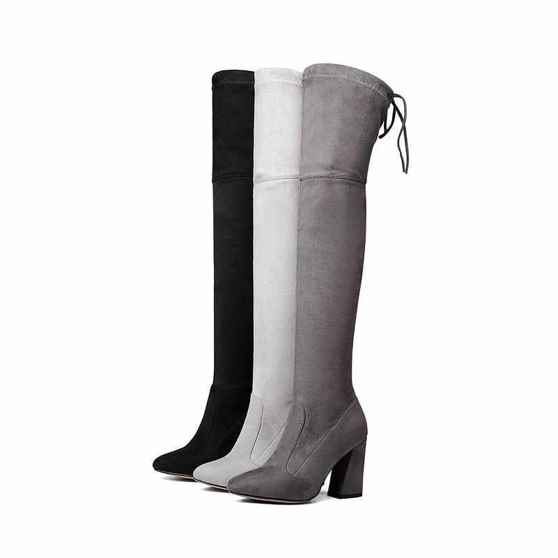 FEDONAS/Новинка 9,5 см; женские Кожаные ботфорты выше колена; пикантная женская обувь на толстом каблуке со шнуровкой; однотонные теплые сапоги; сезон осень-зима