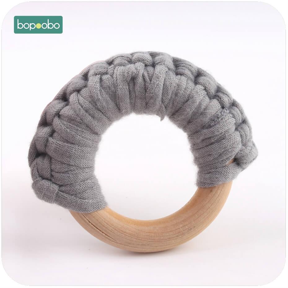 Bopoobo 20pc 56mm Cloth Half Rings Cotton Handmade Teethers DIY Baby Accessories BPA Free Waldorf Wood Ring Baby Teethers Toys