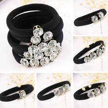 Korean Elegant Rhinestones Women Hair Accessories Simple Black Elastic Hair Bands Girl Hairband Hair Rope Gum Rubber Band(China)