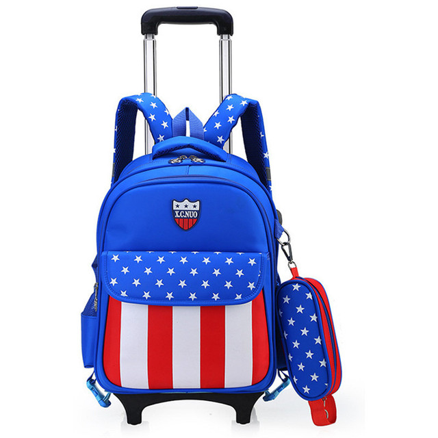 Children Wheeled School Bag For Boys S Kids Trolley Backpack Waterproof Book Bags With 2 Wheels
