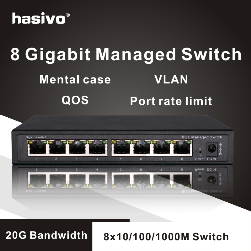 8 Port Gigabit Managed Switch Managed Ethernet Switch with 8 port 10 100 1000M VLAN