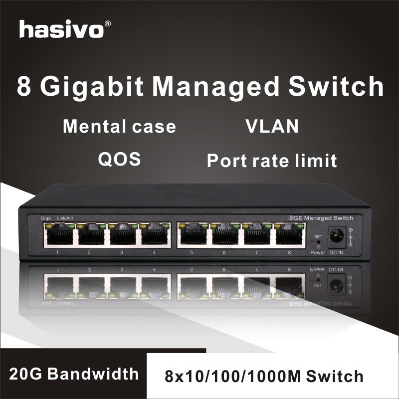8 porte Gigabit Switch Gestito Switch Ethernet Gestito con 8 porte 10/100/1000M VLAN