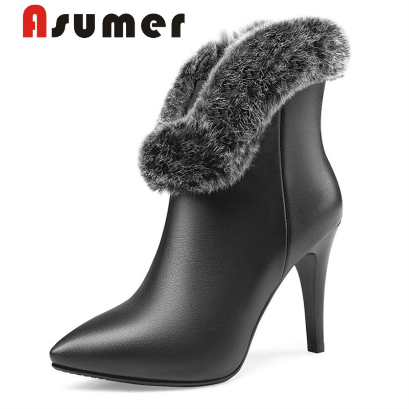 ASUMER Fur-Boots Winter Heels Pointed-Toe Genuine-Leather Women High-Quality NEW Solid
