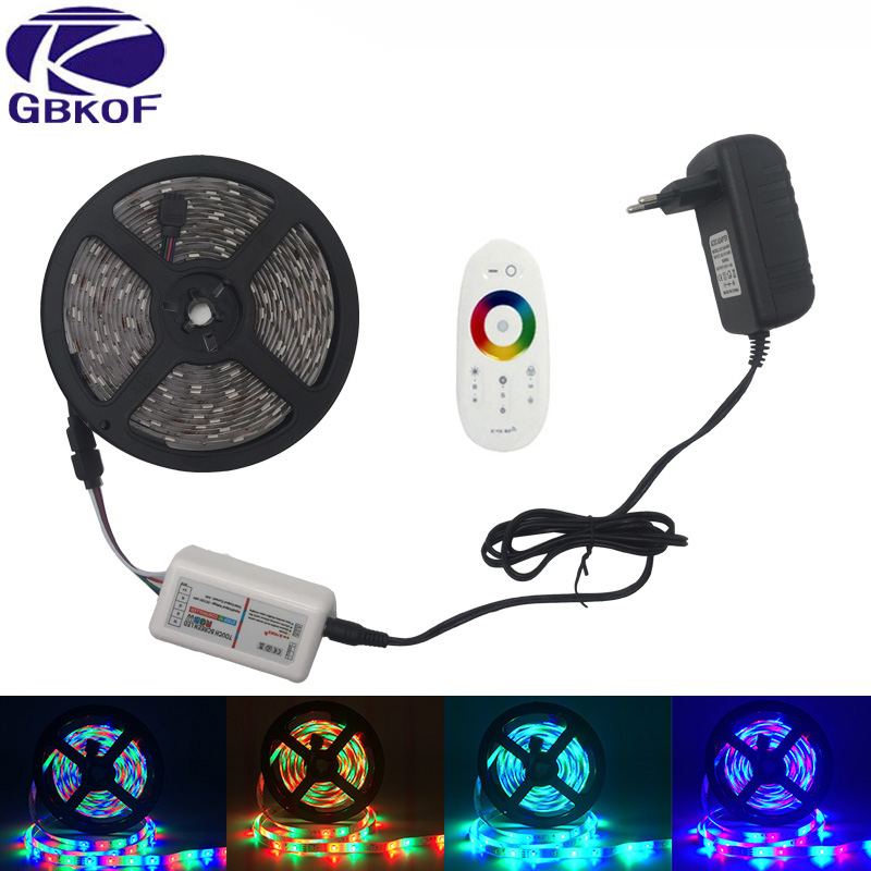 RGB Led Strip Light SMD2835 5M 10M Flexible Led Tape RGB led strip 15M 20M RGB Led Ribbon IP20 IP65+Remote+DC 12V Adapter kit riri won smd5050 rgb led strip waterproof led light dc 12v tape flexible strip 5m 10m 15m 20m touch rgb controller adapter