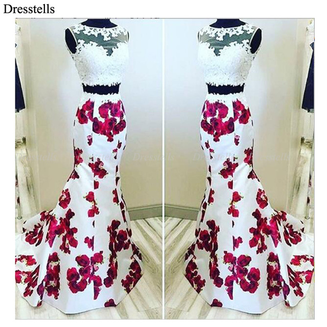 5822c5218e4 Dresstells Hot Selling See Through Lace 2 Piece Floral Print Long Prom  Dresses Evening Wedding Dress Vestido De Novia