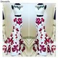 Dresstells Hot Selling See Through Lace Two Pieces Floral Print  Long Prom Dresses Evening Wedding Dress Vestido De Novia