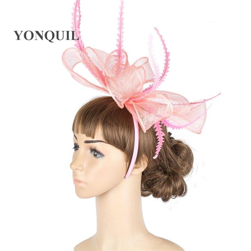 Элегантные головные уборы sinamay, Свадебные шляпы для невесты, высококачественные Коктейльные головные уборы, вечерние головные уборы, несколько цветов - Цвет: Розовый