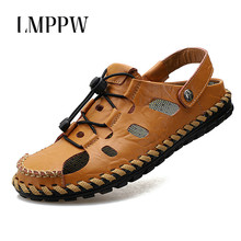 Handmade Sandal 2019 Men Sandals Summer Genuine Leather Shoes Outdoor Roman Classic Men Slippers Water Shoes Beach Sandals 2A все цены