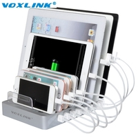 VOXLINK 8 Ports Desktop USB Multi Function Charging Station Dock With Stand For Mobile Phone Tablet