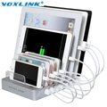 VOXLINK 8 Ports Desktop USB Multi-Function Charging Station Dock with Stand For Mobile phone tablet PC Black White