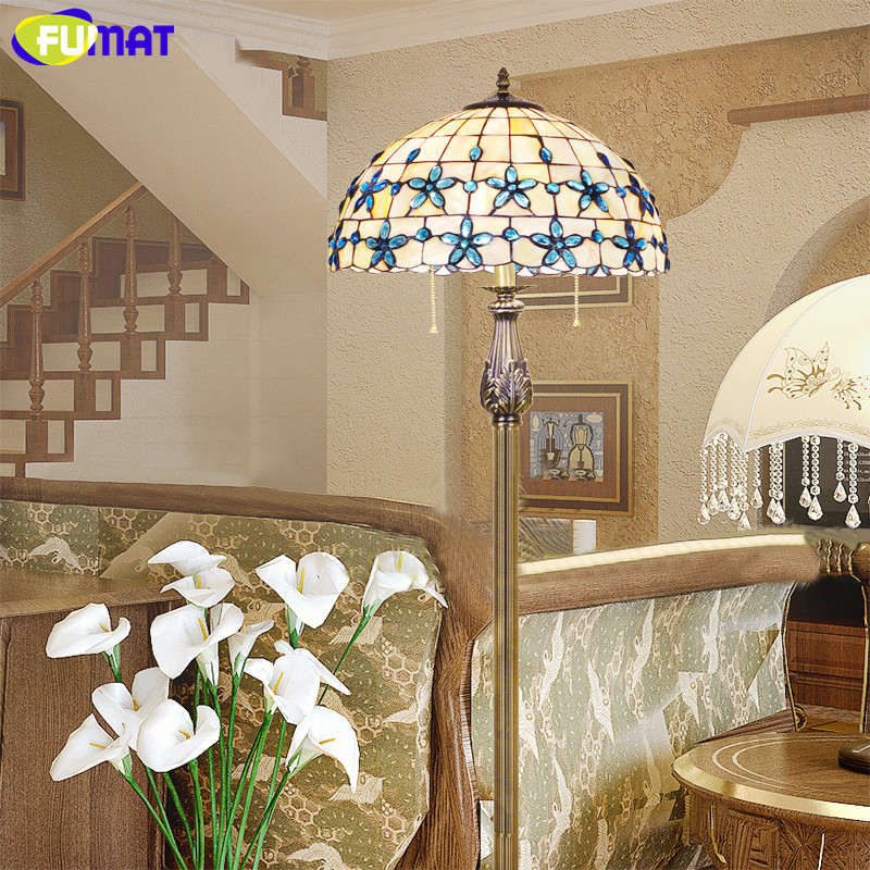 FUMAT Lilac Shell Floor Standing Lamp New European Mediterranean Blue Bedroom Floor Light 16 Inch Living Room Floor Lamp E27 LED magnolia 5624 24 inch garage floor broom