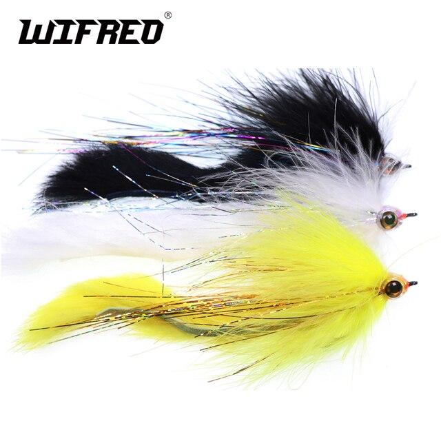 Wifreo 2/0 באני זנב פייק מושק Steelhead לטוס עם אפוקסי ראש טורף מלוחים דיג לטוס סרטים שחור לבן צהוב