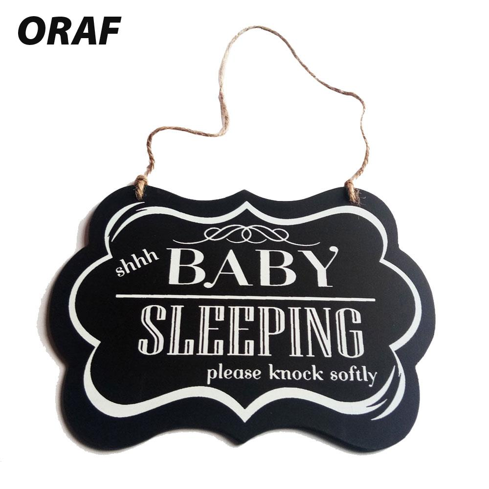 Wood Sign Plaque Shhh BABY SLEEPING Hanging Plate Creative Wood Wall Poster Wood Gift Beautiful Wood Door Hanging Drop Shipping