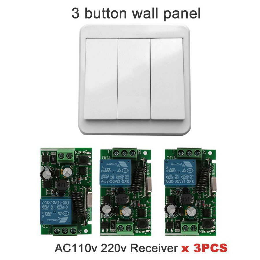 Dhl Or Fedex 50pcs 433 Mhz Wireless Remote Control Switch Ac 110v 220v Relay Receiver Module And Wall Switch Transmitter