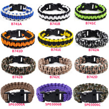 New Trendy Unisex Military Emergency Survival Bracelets 3 Colors Paracord Rope Outdoor Bracelet Camping Shackle Buckle