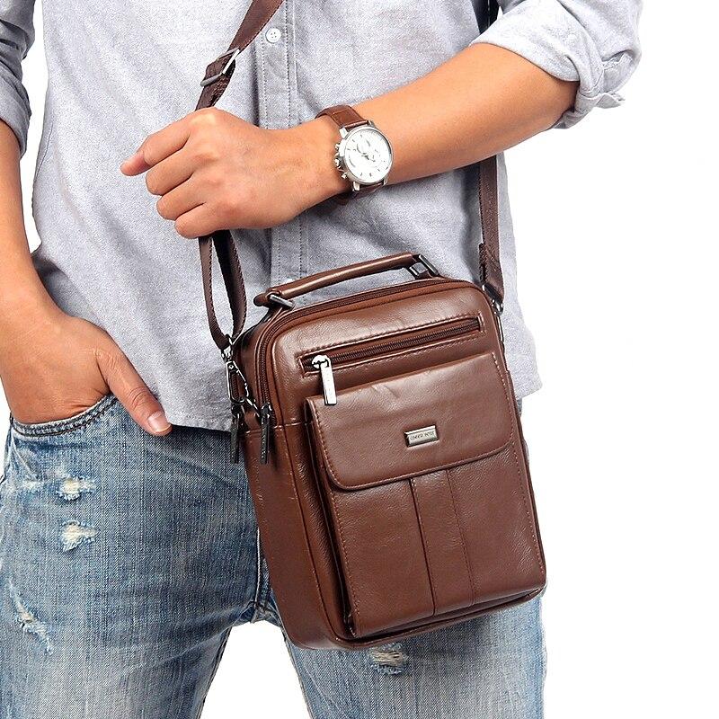 ФОТО 100%Fashion genuine leather men bags small shoulder bag men messenger bag crossbody leisure bag